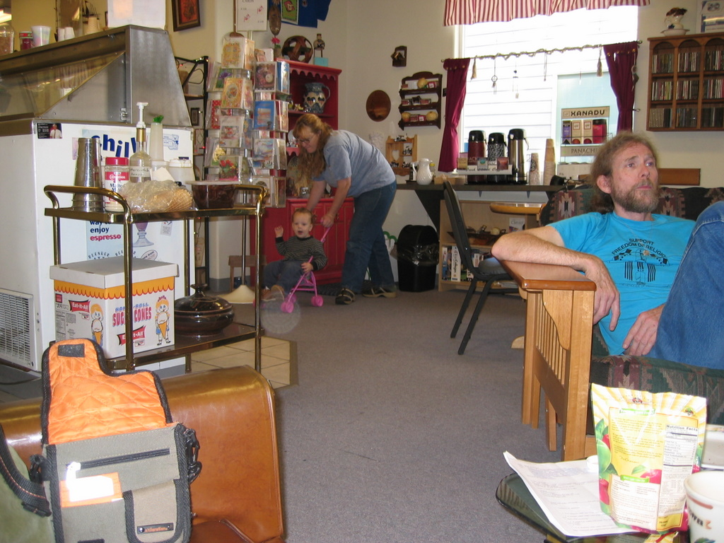 "The kid and I at Cada Corner, with ""Mocha"" in the foreground, circa 2001."